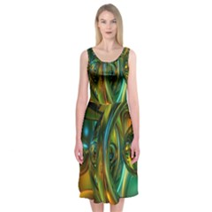 3d Transparent Glass Shapes Mixture Of Dark Yellow Green Glass Mixture Artistic Glassworks Midi Sleeveless Dress