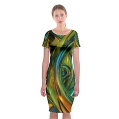 3d Transparent Glass Shapes Mixture Of Dark Yellow Green Glass Mixture Artistic Glassworks Classic Short Sleeve Midi Dress