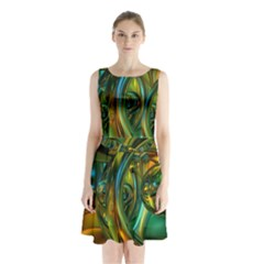 3d Transparent Glass Shapes Mixture Of Dark Yellow Green Glass Mixture Artistic Glassworks Sleeveless Chiffon Waist Tie Dress