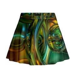 3d Transparent Glass Shapes Mixture Of Dark Yellow Green Glass Mixture Artistic Glassworks Mini Flare Skirt