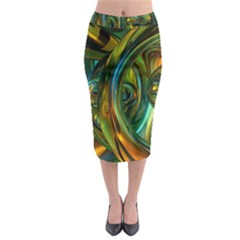 3d Transparent Glass Shapes Mixture Of Dark Yellow Green Glass Mixture Artistic Glassworks Midi Pencil Skirt