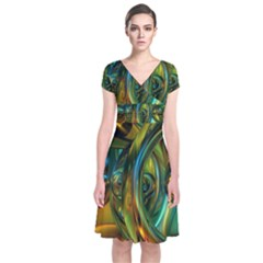 3d Transparent Glass Shapes Mixture Of Dark Yellow Green Glass Mixture Artistic Glassworks Short Sleeve Front Wrap Dress
