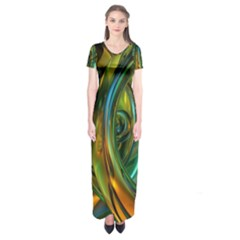 3d Transparent Glass Shapes Mixture Of Dark Yellow Green Glass Mixture Artistic Glassworks Short Sleeve Maxi Dress