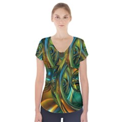 3d Transparent Glass Shapes Mixture Of Dark Yellow Green Glass Mixture Artistic Glassworks Short Sleeve Front Detail Top