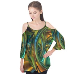 3d Transparent Glass Shapes Mixture Of Dark Yellow Green Glass Mixture Artistic Glassworks Flutter Tees