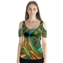 3d Transparent Glass Shapes Mixture Of Dark Yellow Green Glass Mixture Artistic Glassworks Butterfly Sleeve Cutout Tee