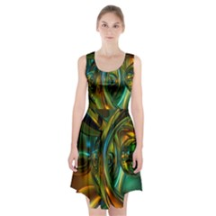 3d Transparent Glass Shapes Mixture Of Dark Yellow Green Glass Mixture Artistic Glassworks Racerback Midi Dress