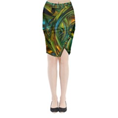 3d Transparent Glass Shapes Mixture Of Dark Yellow Green Glass Mixture Artistic Glassworks Midi Wrap Pencil Skirt