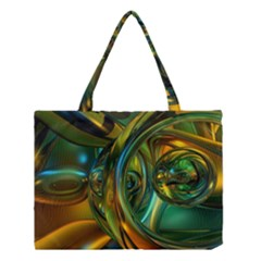 3d Transparent Glass Shapes Mixture Of Dark Yellow Green Glass Mixture Artistic Glassworks Medium Tote Bag