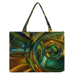 3d Transparent Glass Shapes Mixture Of Dark Yellow Green Glass Mixture Artistic Glassworks Medium Zipper Tote Bag