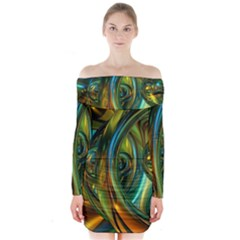 3d Transparent Glass Shapes Mixture Of Dark Yellow Green Glass Mixture Artistic Glassworks Long Sleeve Off Shoulder Dress