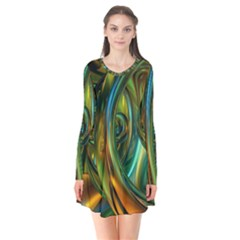 3d Transparent Glass Shapes Mixture Of Dark Yellow Green Glass Mixture Artistic Glassworks Flare Dress