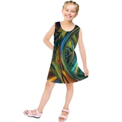 3d Transparent Glass Shapes Mixture Of Dark Yellow Green Glass Mixture Artistic Glassworks Kids  Tunic Dress