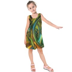 3d Transparent Glass Shapes Mixture Of Dark Yellow Green Glass Mixture Artistic Glassworks Kids  Sleeveless Dress