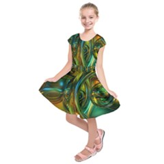 3d Transparent Glass Shapes Mixture Of Dark Yellow Green Glass Mixture Artistic Glassworks Kids  Short Sleeve Dress