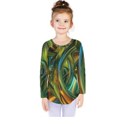 3d Transparent Glass Shapes Mixture Of Dark Yellow Green Glass Mixture Artistic Glassworks Kids  Long Sleeve Tee