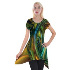 3d Transparent Glass Shapes Mixture Of Dark Yellow Green Glass Mixture Artistic Glassworks Short Sleeve Side Drop Tunic