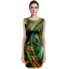 3d Transparent Glass Shapes Mixture Of Dark Yellow Green Glass Mixture Artistic Glassworks Sleeveless Velvet Midi Dress