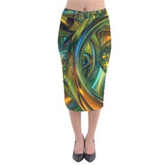 3d Transparent Glass Shapes Mixture Of Dark Yellow Green Glass Mixture Artistic Glassworks Velvet Midi Pencil Skirt