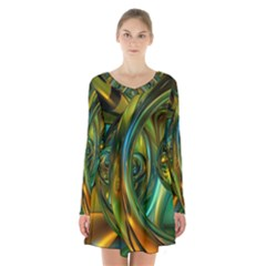 3d Transparent Glass Shapes Mixture Of Dark Yellow Green Glass Mixture Artistic Glassworks Long Sleeve Velvet V-neck Dress