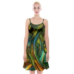 3d Transparent Glass Shapes Mixture Of Dark Yellow Green Glass Mixture Artistic Glassworks Spaghetti Strap Velvet Dress