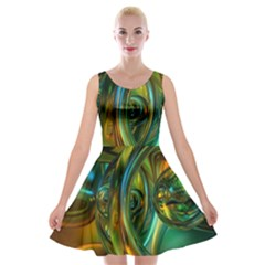 3d Transparent Glass Shapes Mixture Of Dark Yellow Green Glass Mixture Artistic Glassworks Velvet Skater Dress
