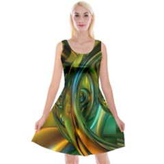 3d Transparent Glass Shapes Mixture Of Dark Yellow Green Glass Mixture Artistic Glassworks Reversible Velvet Sleeveless Dress