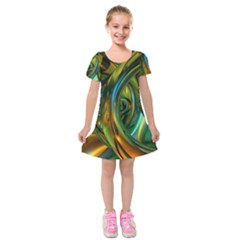 3d Transparent Glass Shapes Mixture Of Dark Yellow Green Glass Mixture Artistic Glassworks Kids  Short Sleeve Velvet Dress
