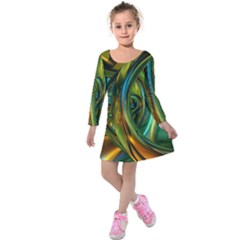 3d Transparent Glass Shapes Mixture Of Dark Yellow Green Glass Mixture Artistic Glassworks Kids  Long Sleeve Velvet Dress