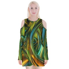 3d Transparent Glass Shapes Mixture Of Dark Yellow Green Glass Mixture Artistic Glassworks Velvet Long Sleeve Shoulder Cutout Dress