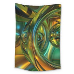 3d Transparent Glass Shapes Mixture Of Dark Yellow Green Glass Mixture Artistic Glassworks Large Tapestry