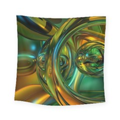 3d Transparent Glass Shapes Mixture Of Dark Yellow Green Glass Mixture Artistic Glassworks Square Tapestry (small)