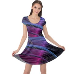 Abstract Satin Cap Sleeve Dresses