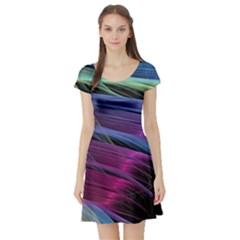 Abstract Satin Short Sleeve Skater Dress