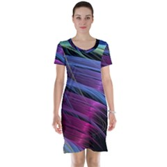 Abstract Satin Short Sleeve Nightdress