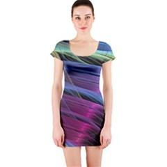 Abstract Satin Short Sleeve Bodycon Dress
