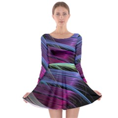 Abstract Satin Long Sleeve Skater Dress