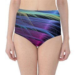 Abstract Satin High-Waist Bikini Bottoms
