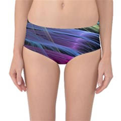Abstract Satin Mid-Waist Bikini Bottoms