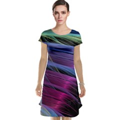 Abstract Satin Cap Sleeve Nightdress
