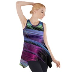 Abstract Satin Side Drop Tank Tunic