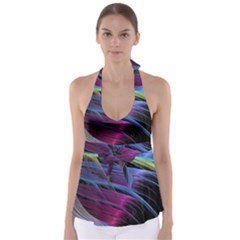 Abstract Satin Babydoll Tankini Top
