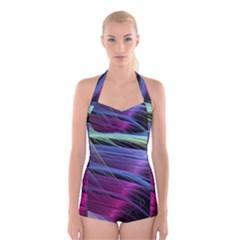 Abstract Satin Boyleg Halter Swimsuit