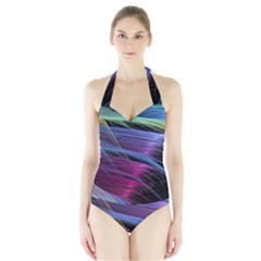 Abstract Satin Halter Swimsuit