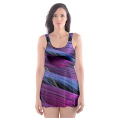 Abstract Satin Skater Dress Swimsuit