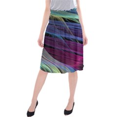 Abstract Satin Midi Beach Skirt