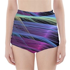 Abstract Satin High-Waisted Bikini Bottoms