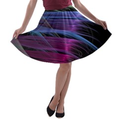 Abstract Satin A-line Skater Skirt