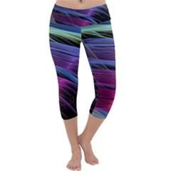 Abstract Satin Capri Yoga Leggings