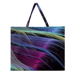 Abstract Satin Zipper Large Tote Bag